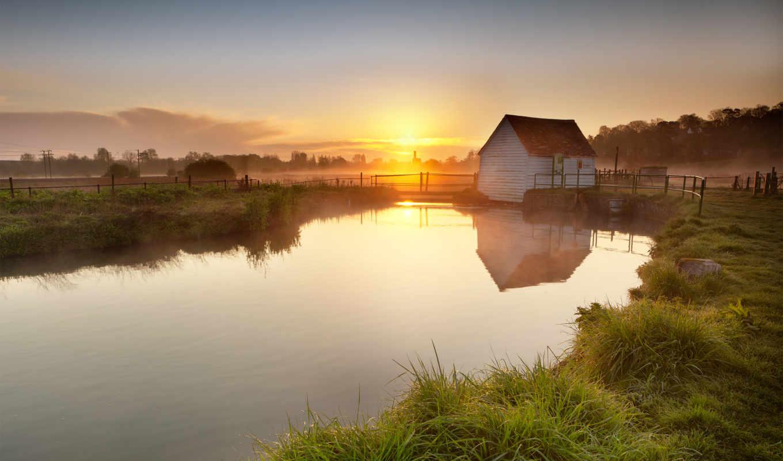 озеро, закат, утро, великобритания, англия, вечер, небо, рассвет, поле,