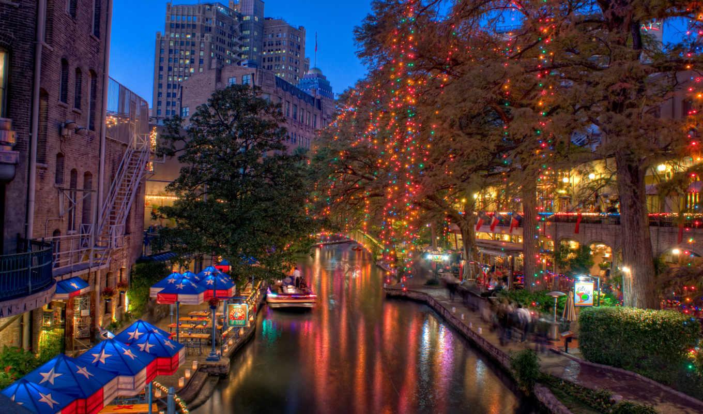 christmas, antonio, san, texas, река, прогулка,