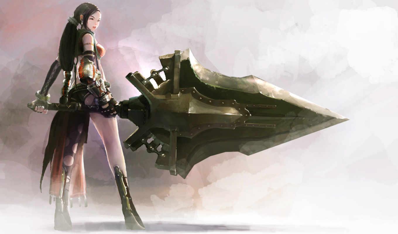 арт, оружие, девушка, меч, фэнтези, обои, клинок,