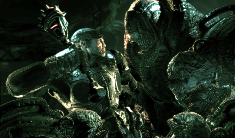 gears, war, фэнтези, чудовище, фантастика, with, картинка, combat, agaisnt, free, игры, games,