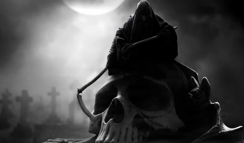 череп, место, фантастика, grim, дней, reaper,