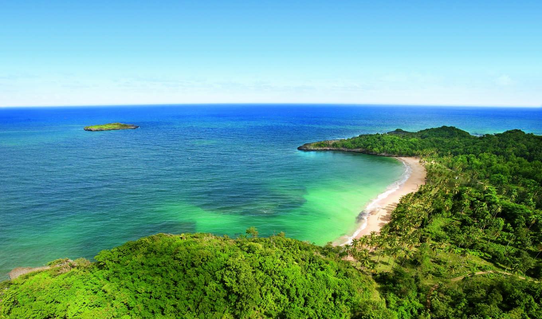 ocean, пальмы, острова, горизонт, indian, песок,