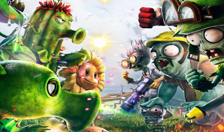 plants, zombies, warfare, garden, shooter, февр,