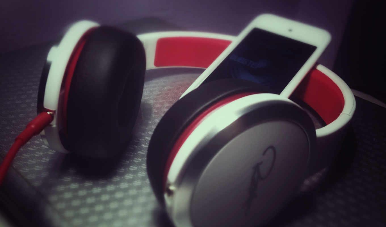 наушники, смартфон, белый, красный
