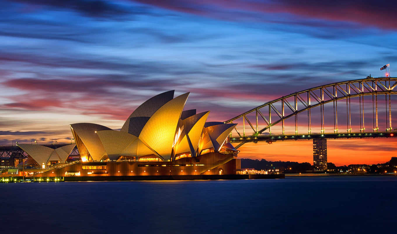 австралия, сидней, opera, мост, огни, house, города,