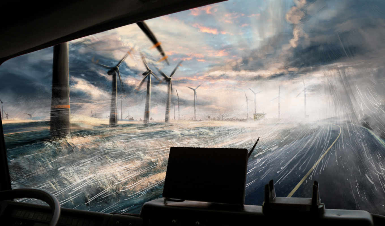 дождь, дорога, взгляд, мельницы, windscape, art,