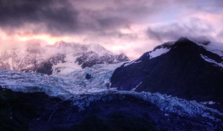 горы, снежные, горах, рассвет, скалы, вершины, снег, камни, landscape, прекрасные, природа,