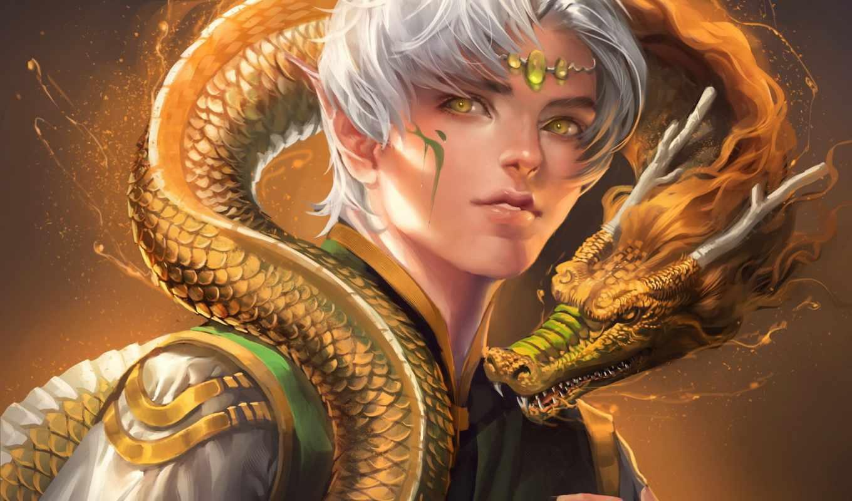 эльф, парень, sakimichan, дракон, свет, желтые, шкала, рога, boy,