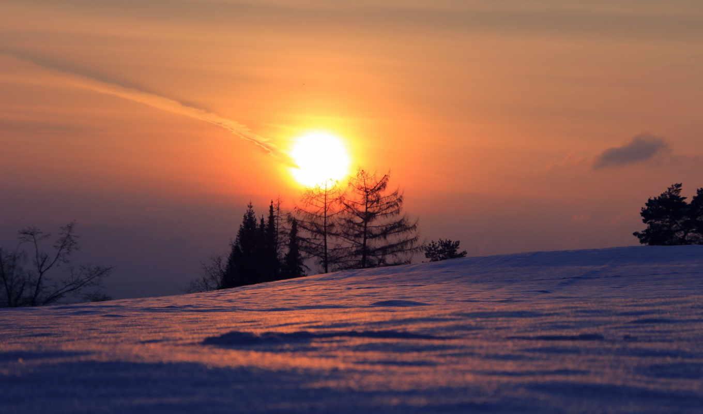 природа, закат, снег, красивые, winter, landscape, закаты,