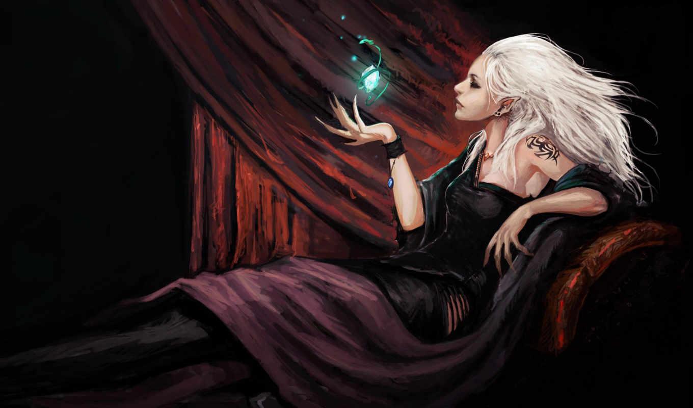 кристалл, девушка, когти, эльф, занавес, татуировка, картинка, картинку,