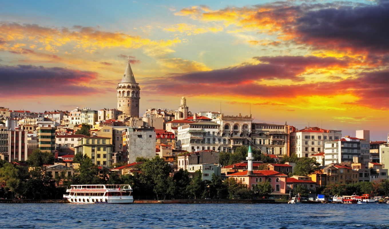 istanbul, sunset, galata, turkey, district, bunama, фотообои,
