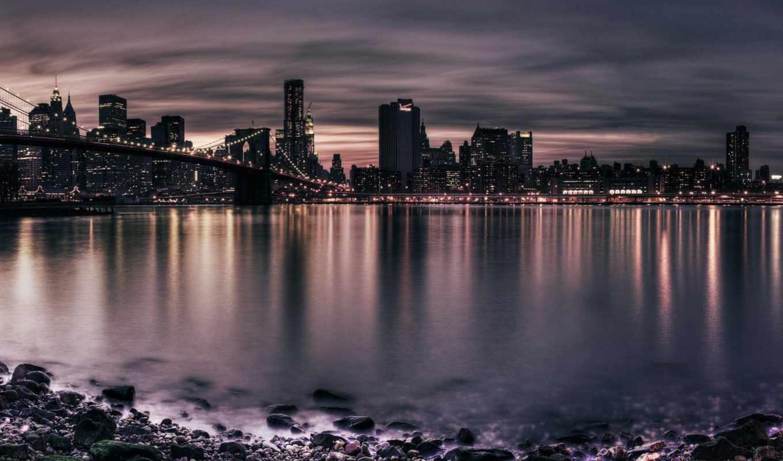 город, река, мосты, огни, ночь, мост, высоком,