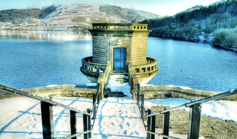 water, winter, озеро, buildings, природа, landscape, desktop,