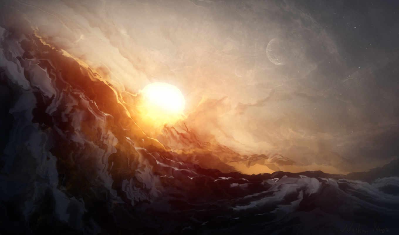 sun, луна, art, море, живопись, закат,