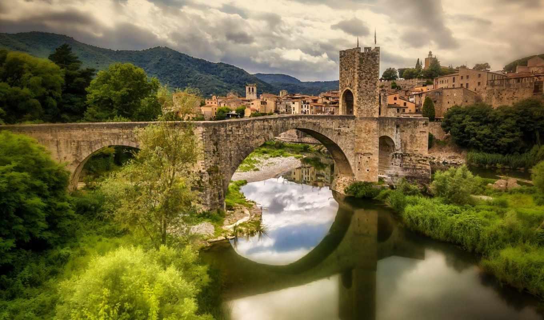 мост, испания, река, besalú, каталония, besalu, fluvia, romanesque,