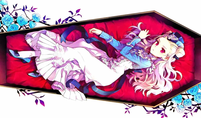 anime, волосами, девушка, белыми, lying, красными, глазами,