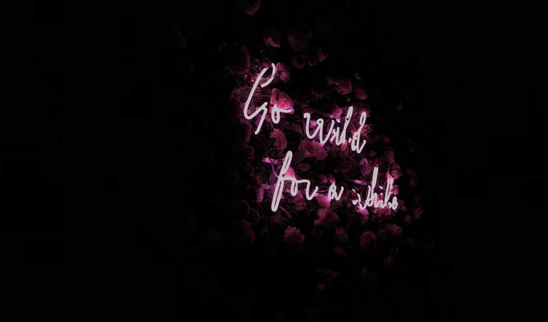 neon, flowers, фон, надпись, подсветка, black, подсветка,
