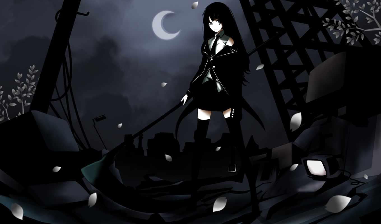 black, scythe, shooter, rock, anime, dark, hair, girl, moon, death, image, long,