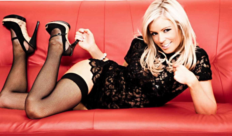 платье, диван, девушка, модель, красных, blonde, heels, stockings, анна, sexy, фонарей,