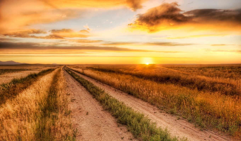 поле, закат, дорога, небо, landscape,