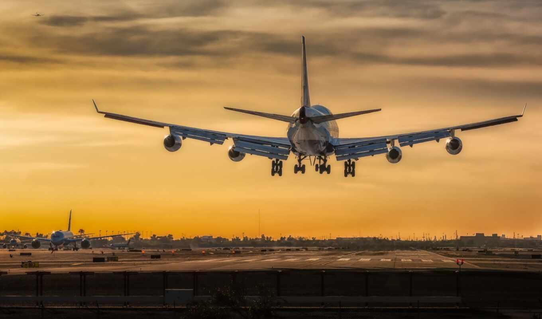 airplane, boe, land, voyage, plane, avion, fond, mac, black