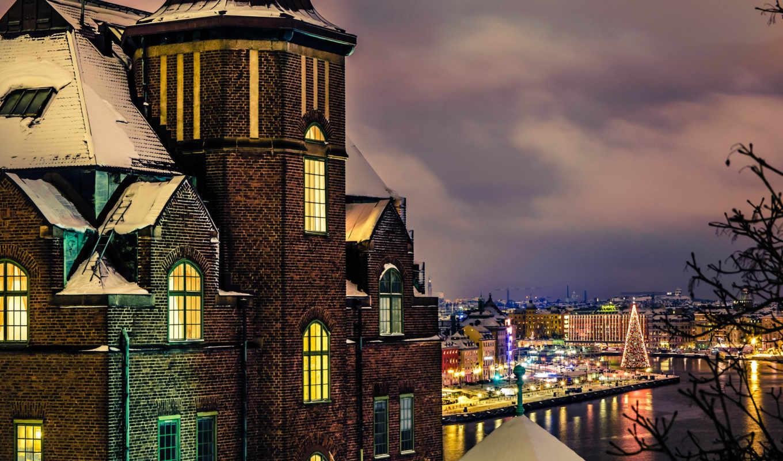 sweden, stockholm, город, дом, здание, вечер, зима, snow,