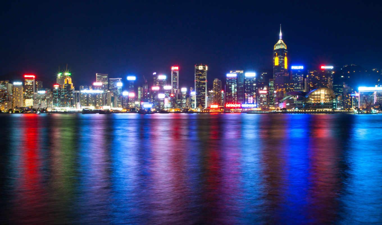 море, виктория, китай, гавань, ночь, огни, гонконг, city, картинку, мегаполис, подсветка, небоскребы, кнопкой,