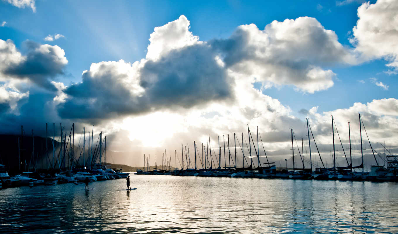 harbor, download, desktop, resolution, clouds, paddle, sea, surfers, boats, you,
