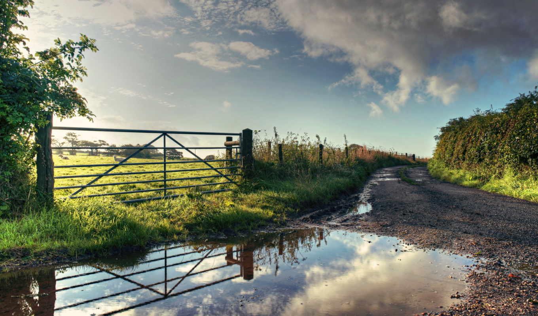 природа, дорога, лужа, лето, забор, поле, картинка, имеет, горизонтали, مزرعه,