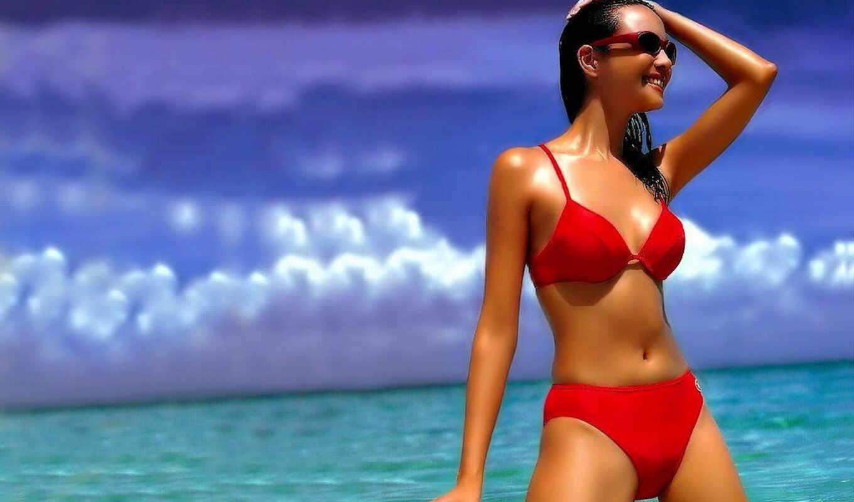 девушка, beauty, beach, красный купальник, девушка на море,