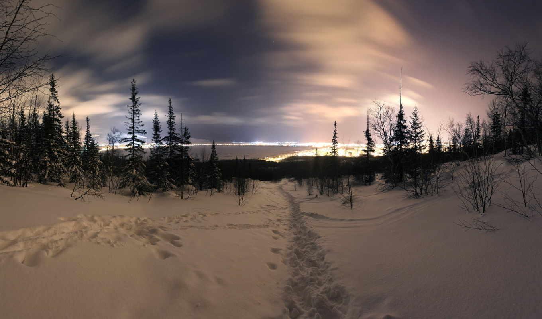ночь, winter, landscape, zima, noch, картинку, чтобы, изображение, снег, пейзаж,