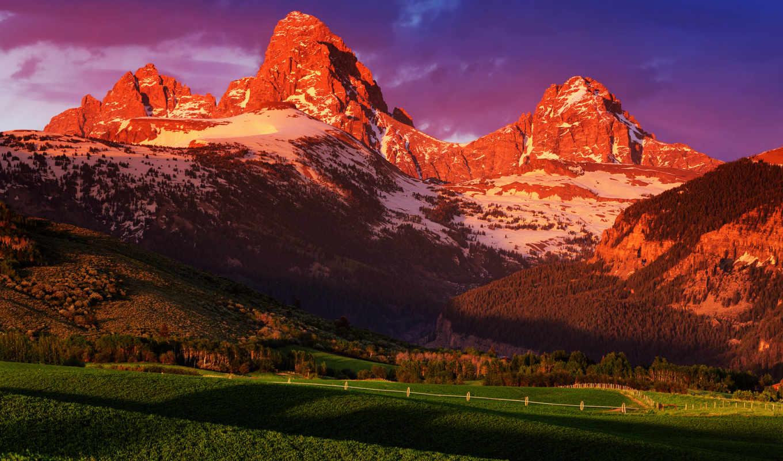 горы, закат, солнца, сша, закате, summer, park, wyoming, природа, june, national,