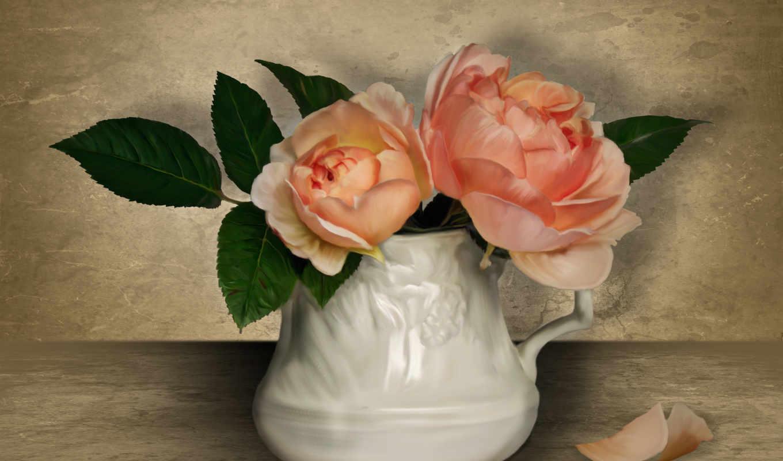 цветы, розы, кувшин, лепестки,