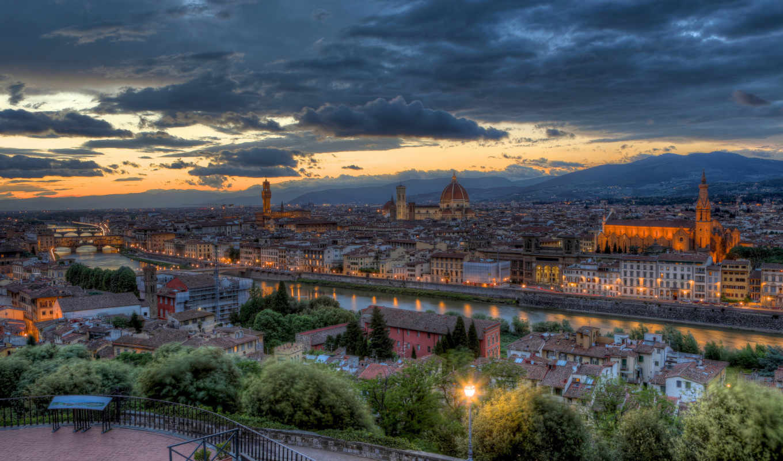 italy, вечер, florence, tuscany, закат, панорама,