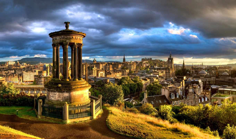 landscape, stewart, dugald, эдинбург, просмотров, здания, город, памятник, прислал,