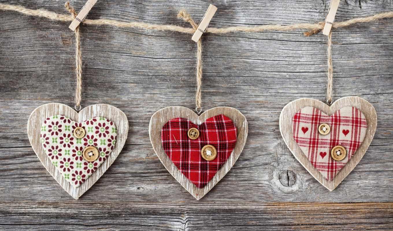 сердце, wooden, дерево, ткань, red, веревка