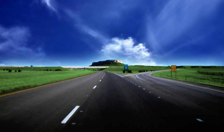 road, небо, highway, desktop, поле, inspirational, landscape,