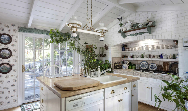 кухня, светлая, стол, раковина, посуда,
