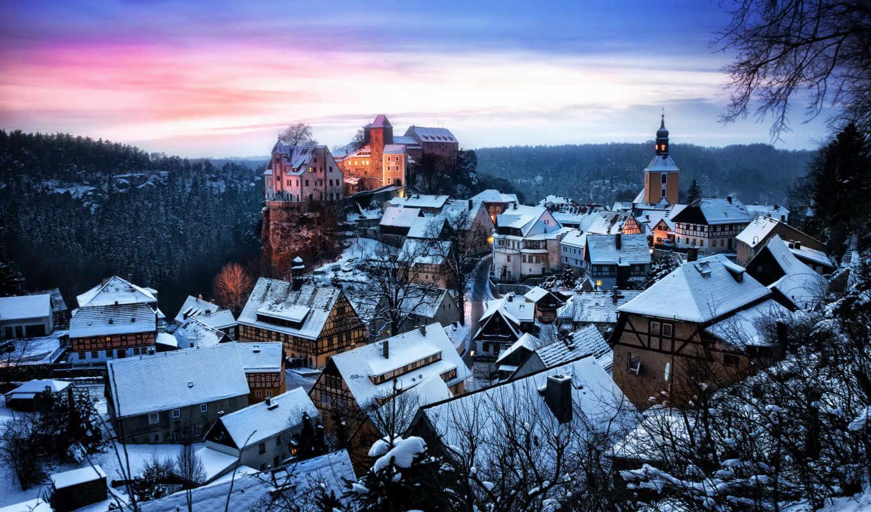 саксония, хонштайн, замок, германия, картинка, картинку, крепость, домики,