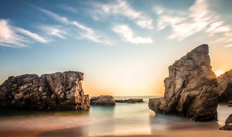 море, солнце, скалы, берег, облака, небо, восход, утро,