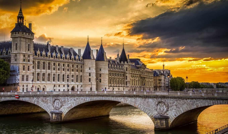 консьержери, париж, франция, дворец, дек, замок,