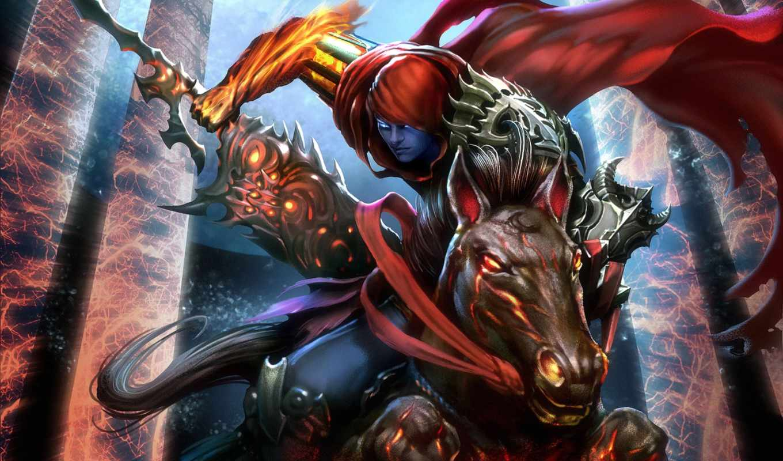 фэнтези, воители, мечи, лошади, коне, мечом, воин, гигантским,