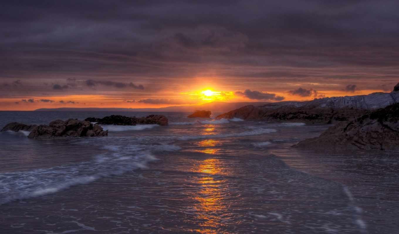 закат, море, картинка, purple, пляж, небо, берег,