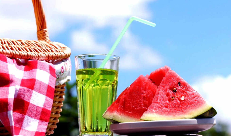 арбуз, коктейль, summer, напиток, холод,
