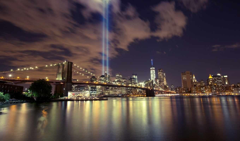 ночь, город, new, skyscrapers, york, world, trade, улица,