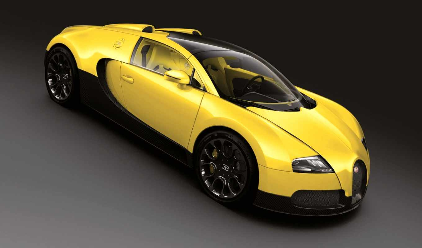 bugatti, veyron, sport, grand, yellow,