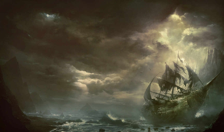 корабль, арт, парусник, море, горы, тучи, kentaro, kanamoto, фэнтези,