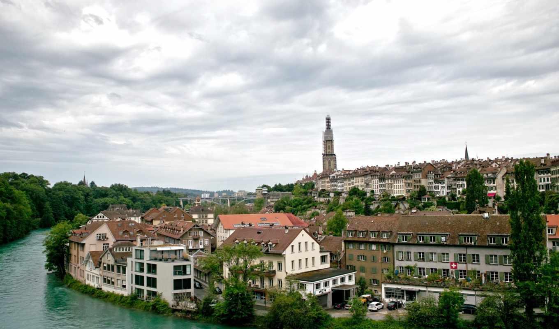швейцария, город, река, небо,