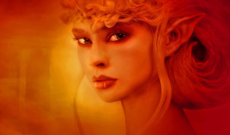 эльф, глаза, tapety, оранжевый, art, fantasy,