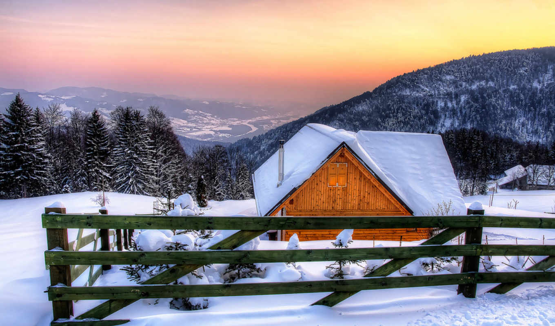 снег, горы, winter, trees, категории, фоны, нежность, lodge, house, прохладном, небо,